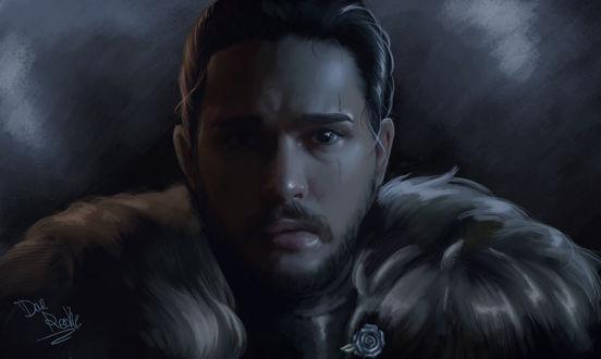 Обои Портрет Джона Сноу / Jon Snow, роль исполняет Кит Харингтон / Keith Harrington, сериал Игра Престолов / Game of Thrones, by DanRooke