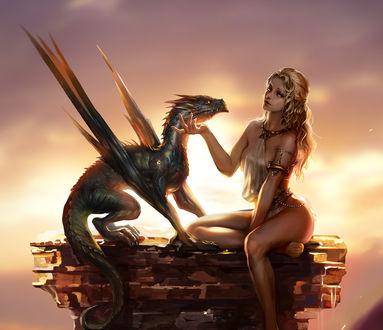 Обои Девушка сидит рядом с драконом