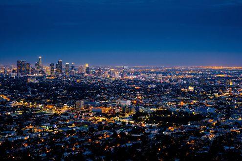 Обои Вечерний город Los Angeles / Лос-Анджелес