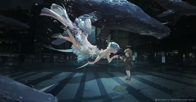 Обои Девушка и ребенок в подводном городе, окруженные китами, автор Miv4t