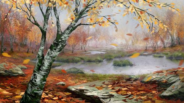 Обои Осенний пейзаж с деревом на первом плане, by laiaorax Corvum