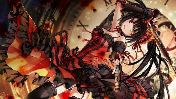 Обои Куруми Токисаки / Tokisaki Kurumi из аниме и манги Рандеву с жизнью / Date a Live с оружием на фоне большого циферблата