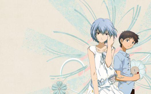 Обои Синдзи Икари / Ikari Shinji и Рэй Аянами / Рей / Ayanami Rei из аниме Евангелион нового поколения / Neon Genesis Evangelion / Shinseiki Evangelion на картонном фоне с абстрактными цветами