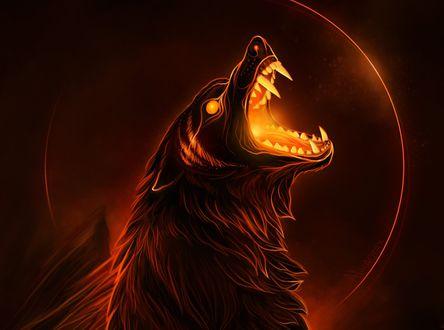 Обои Волк с огненной пастью на фоне заката, by Alaiaorax