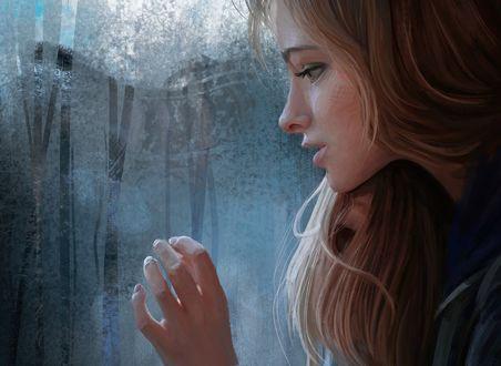 Обои Девушка у окна с каплями от дождя, by Mandy Jurgens