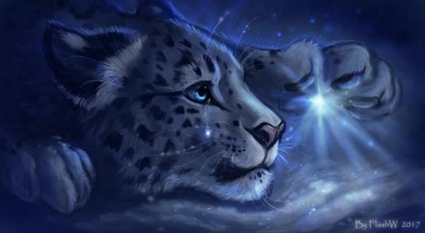 Обои Плачущий белый леопард лежит на снегу и смотрит на яркую звезду, by FlashW
