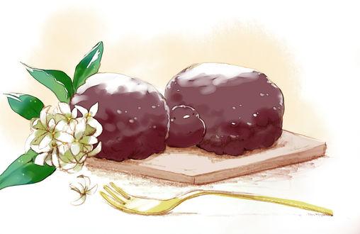 Обои Сладкий шоколадный десерт и весенние белые цветы