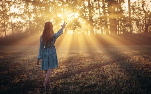 Обои Девушка к нам спиной протянула руку к солнечным лучам