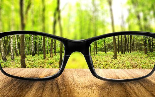Обои Очки на деревянном столе на фоне размытого зеленого леса