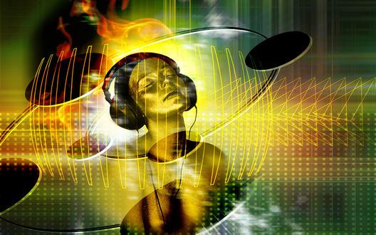 Обои Женщина в наушниках слушает музыку