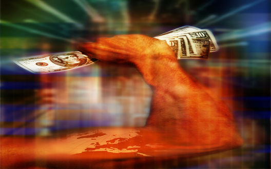 Обои Рука, на которой нарисованы страны мира, сжимает пачку долларов