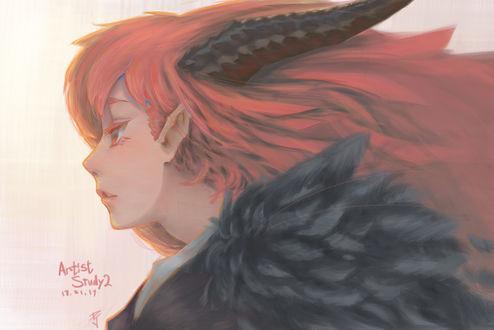 Обои Рогатая девушка с черными крыльями, by danielju