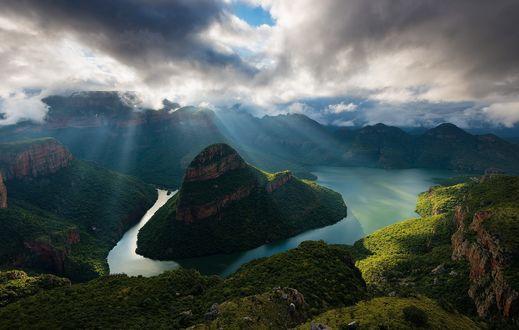Обои Живописный пейзаж каньона в Южной Африке ранним утром