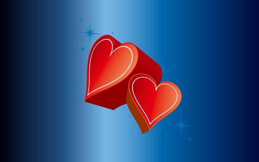 Обои Красные сердечки на синем фоне