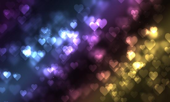 Обои Сердечки на разноцветном фоне