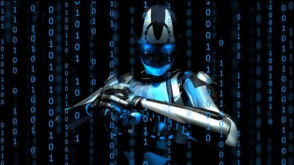 Обои Робот в цифровом пространстве