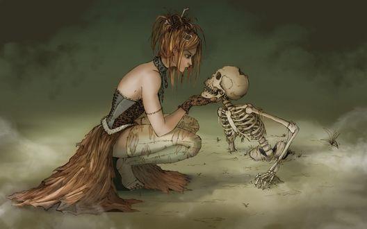 Обои Ведьма пристально рассматривает лицо скелета