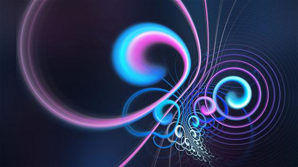 Обои Разноцветная абстракция на голубом фоне