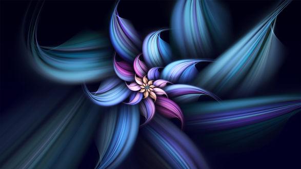 Обои Разноцветная текстурная абстракция в виде цветка