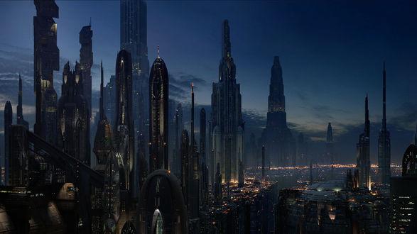 Обои Огни города будущего перед рассветом