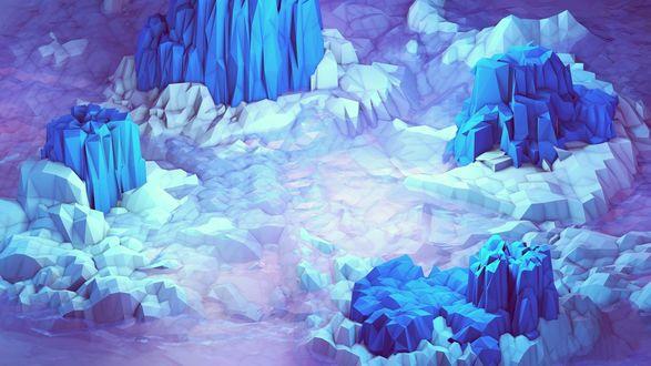Обои Абстрактная 3D модель ледяных гор, выступающих из воды