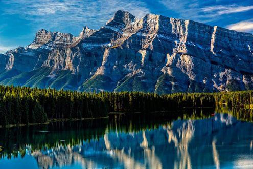 Обои Горы и лес перед ними отражаются в воде, фотограф Perry Hoag