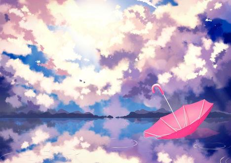 Обои Розовый зонт на воде на фоне облачного неба, by Sayuki-hime