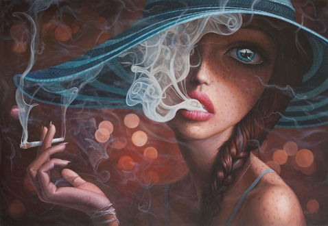 Обои Девушка в шляпе с сигаретой в руке, by borda