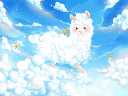 Обои Облачный пушистый барашек среди облаков и бабочек, by Anne Patzke