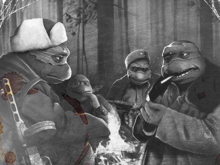 Обои Черепашки ниндзя в одеждах советских времен на войне