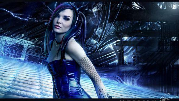 Обои Кибер-готик девушка в синем на фоне развалин завода и молний