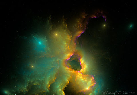 Обои Космическая туманность в желтозеленых тонах, by luisbc