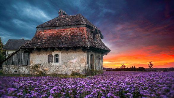 Обои Страрый домик на фоне неба на закате, фотограф Ciro Santopietro