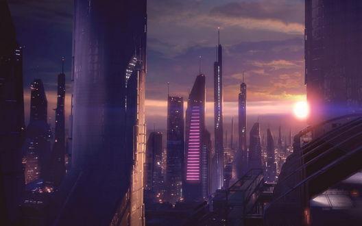 Обои Футуристичный город на закате