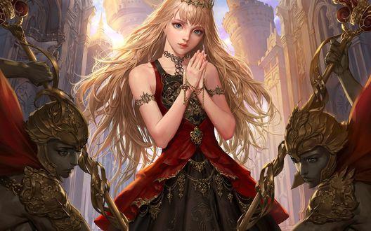 Обои Красивая светловолосая девушка в короне из игры Legend of the Cryptids