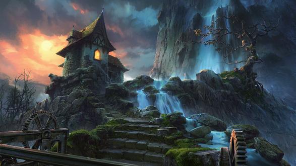 Обои Старинный домик у высокой горы с водопадом, by VityaR83