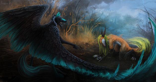 Обои Два волшебных существа готовятся к поединку