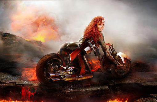 Обои Bianca Beauchamp / Бьянка Бошан на мотоцикле едет земле, залитой потоками расплавленной лавы