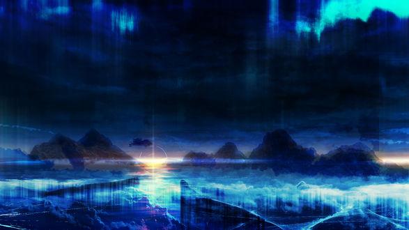 Обои Солнце садится за горизонт, а в небе северное сияние над морем, покрытым льдом, by Y_Y