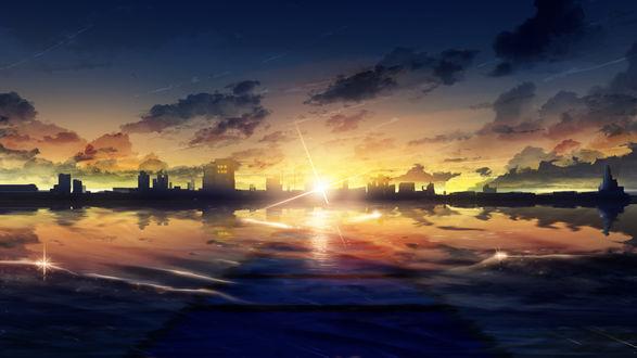 Обои Закат над городом на морском берегу, by Y_Y
