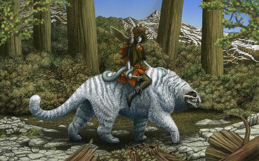 Обои Девушка, в руке которой змея. а на плече сидит сова, едет верхом на каком - то сказочном животном
