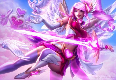 Обои Розоволосая девушка ангел с мечом в руке на фоне небе, by MichelleHoefener
