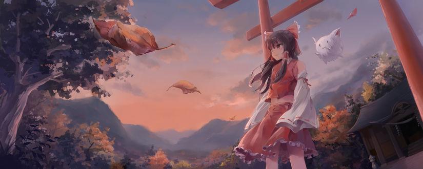 Обои Рейму Хакурей / Reimu Hakurei из аниме и игры Проект Восток / Touhou Project, автор Chen Bin