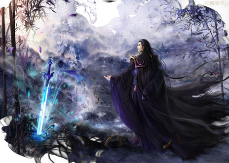 Обои Мужчина в черном стоит перед мечом, by hiliuyun