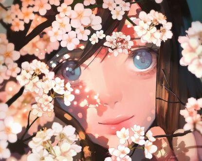 Обои Девочка с голубыми глазами за цветущей весенней веткой, by MA JO