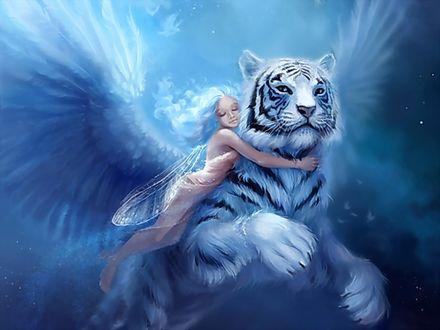Обои Девочка - мотылек с голубыми волосами обнимает белого тигра с крыльями ангела. Художник Kentaro Nishino