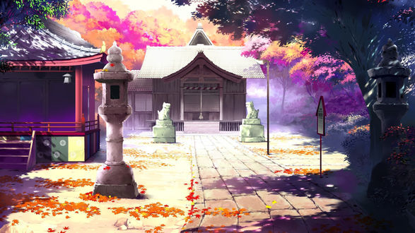 Обои Двор японского храма осенью