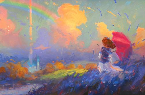 Обои Девушка с красным зонтом стоит в поле, by Sylar113