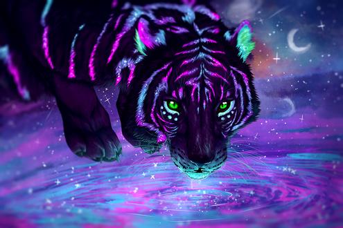 Обои Фантастический тигр у воды, by Gaia-Arts