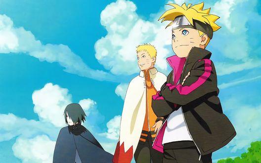 Обои Боруто, Саске и Наруто на фоне неба из аниме Боруто / Boruto